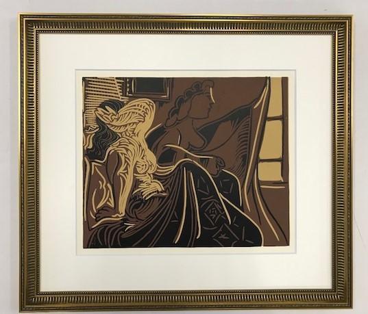 【特価】 ≪  パブロ・ピカソ  ≫  LINOLEUM-CUTS【リノカット版画】  TWO WOMEN AT THE WINDOW  1962年  PABLO PICASSO