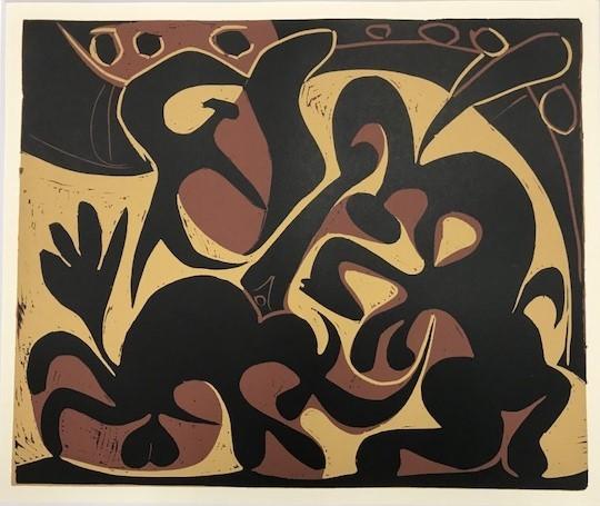 【特価】 ≪  パブロ・ピカソ  ≫  LINOLEUM-CUTS【リノカット版画】 PICADOR GOADING BULL AND MATADOR  1962年  PABLO PICASSO