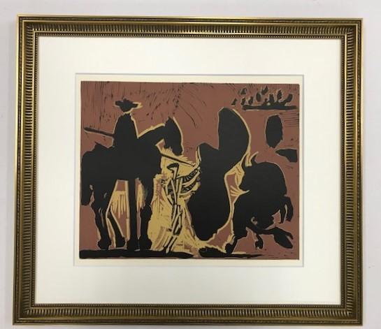 【特価】 ≪  パブロ・ピカソ  ≫  LINOLEUM-CUTS【リノカット版画】 BEFORE THE GOADING OF THE BULL  1962年 PABLO PICASSO