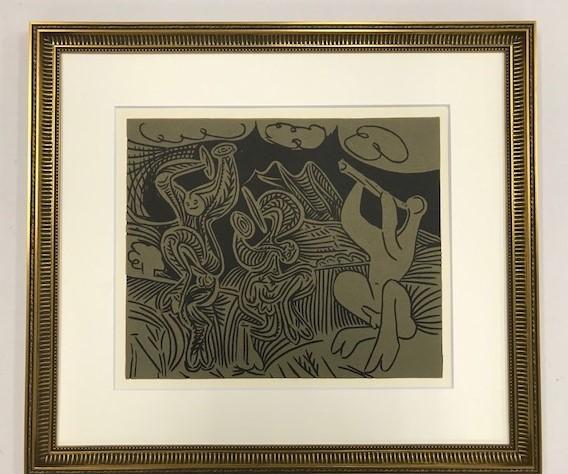 【特価】 ≪  パブロ・ピカソ  ≫  LINOLEUM-CUTS【リノカット版画】 DANCING SATYRS AND FLUTE PLAYER  1962年 PABLO PICASSO