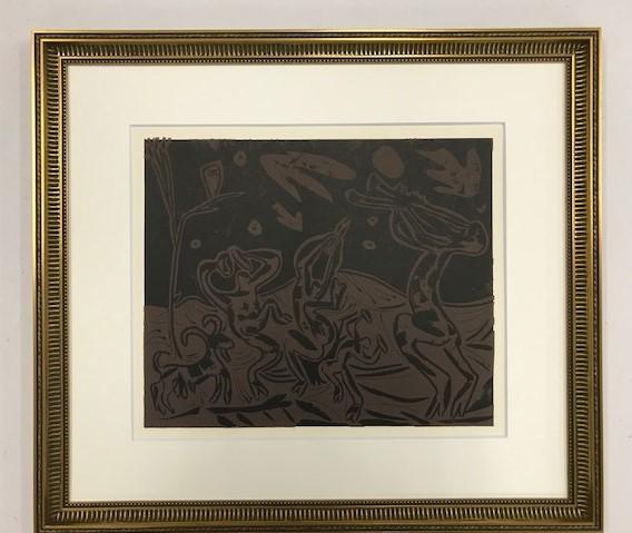 【特価】 ≪  パブロ・ピカソ  ≫  LINOLEUM-CUTS【リノカット版画】 BACCHANAL WITE GOAT AND OWL  1962年 PABLO PICASSO
