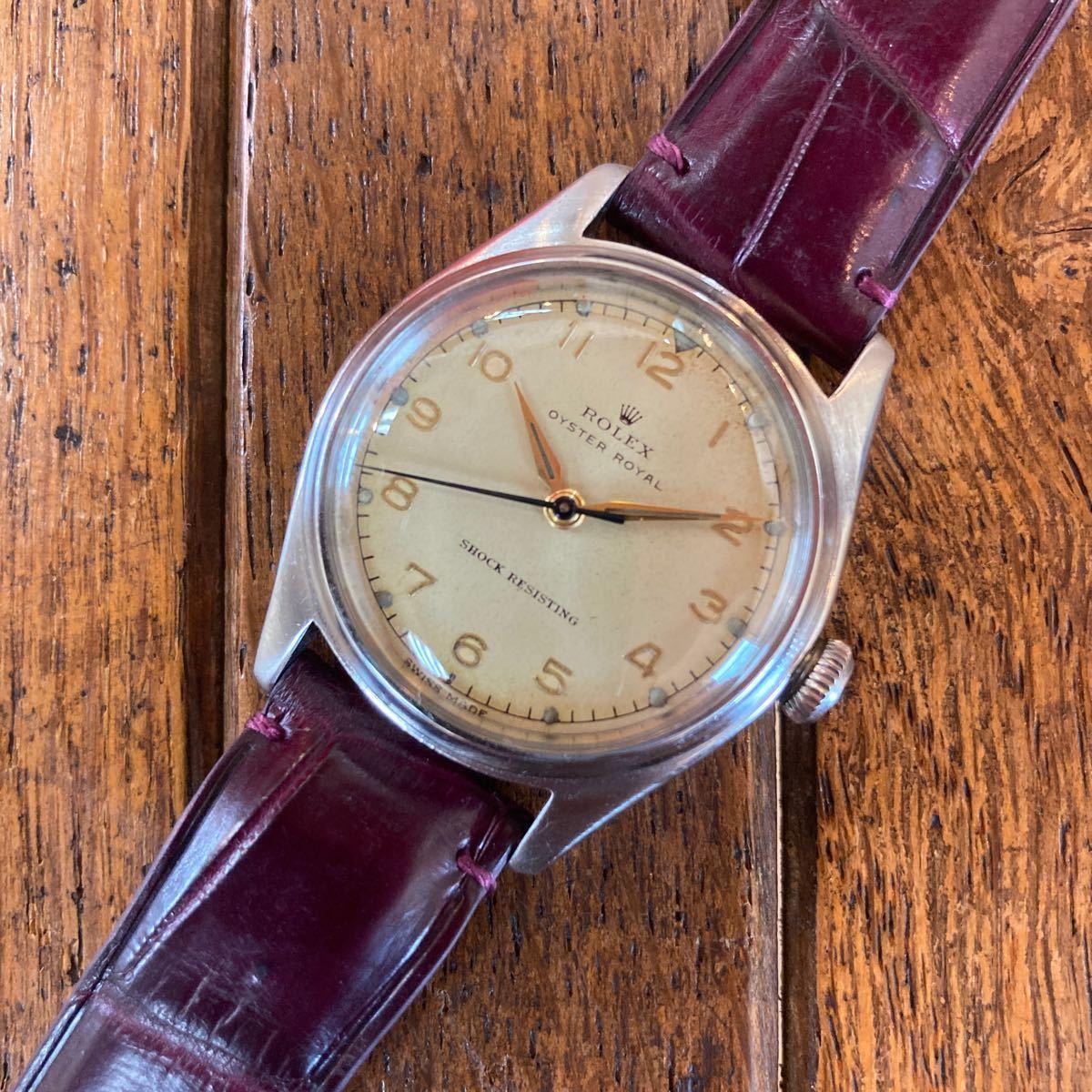 美品 ロレックス ROLEX Ref. 4444 オイスターロイヤル オリジナルリューズ 40年代 ヴィンテージ 手巻き