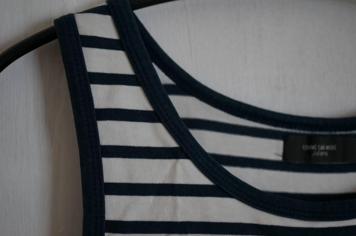 コムサデモードジーンズ*COMME CA DU MODE jeans ストライプのタンクトップ / 紺 白 しましま_画像3