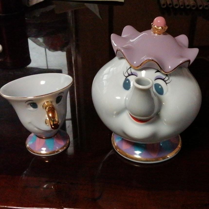 ディズニー 美女と野獣 ポット夫人&チップ 陶器ティーポット&カップ