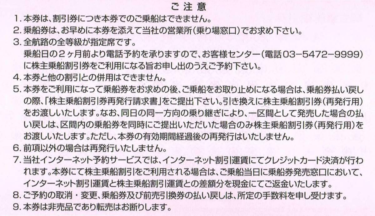東海汽船 株主優待 35%株主乗船割引券 1枚 2020/10/1~2021/3/31【在庫:4】_画像2