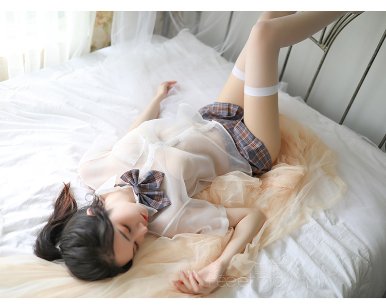 超セクシー シースルー 格子柄 学生服 可愛い透けるセーラー服 コスプレ衣装 制服 グレー z63A_画像6