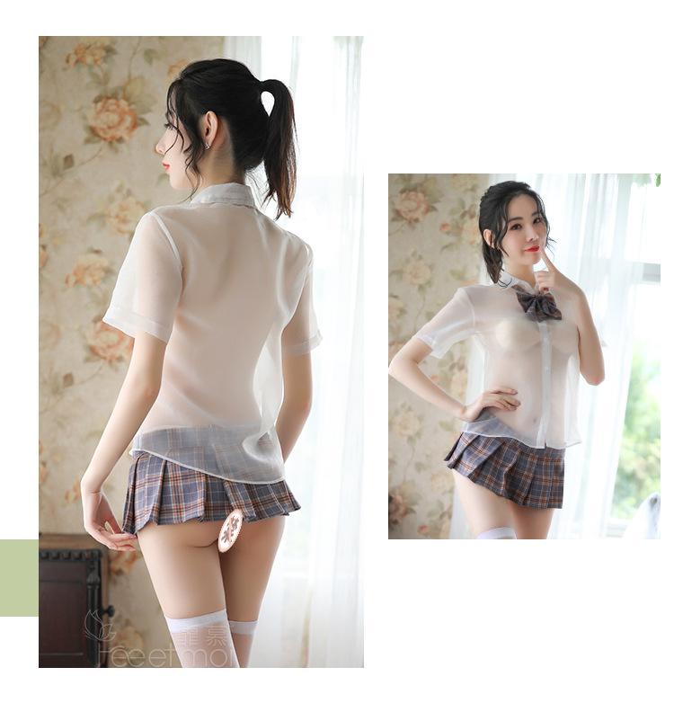 超セクシー シースルー 格子柄 学生服 可愛い透けるセーラー服 コスプレ衣装 制服 グレー z63A_画像8