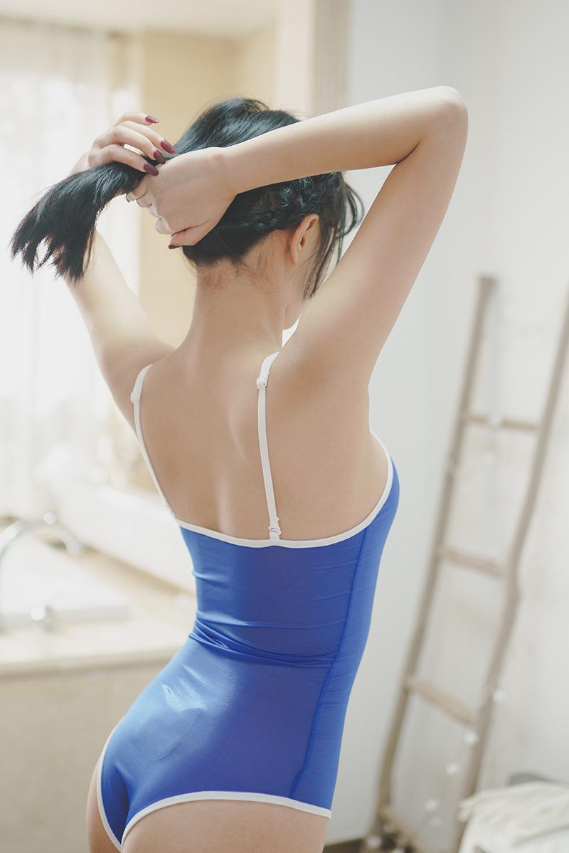 セクシー可愛い 光沢 ハイレグレオタード 肩紐外す可能 超肌触りの良い 水着 スク水 コスプレ レースクイーン ブルー y02D_画像2