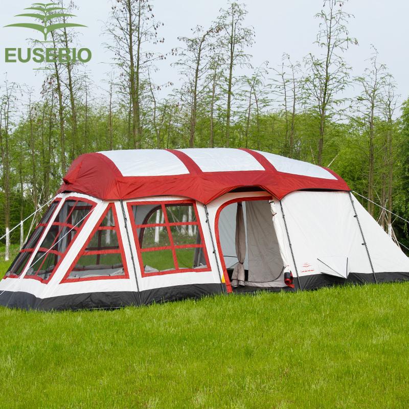 8-12人用ー 大型テント キャンプ 丈夫で安心 海外発送 収納袋付き 防水 色選択可能 ブルー/レッド