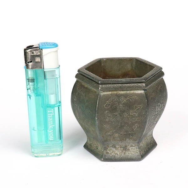 【takekore】華彫 小型 錫製建水 湯こぼし c39