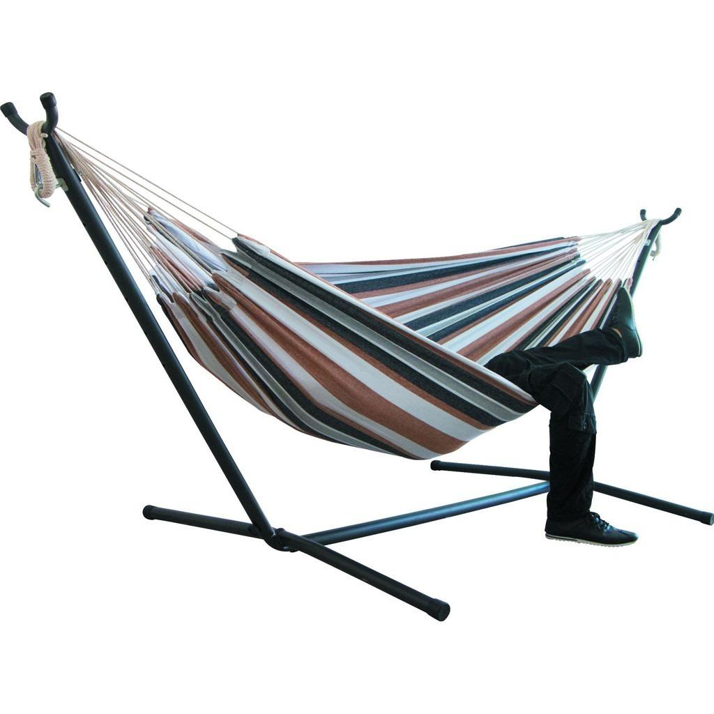 《おすすめ》快適 ハンモック 自立式 布製ハンモックセット スタンド付き 高さ調整可能 アウトドア 室内 キャンプ 紫グリーン_画像4
