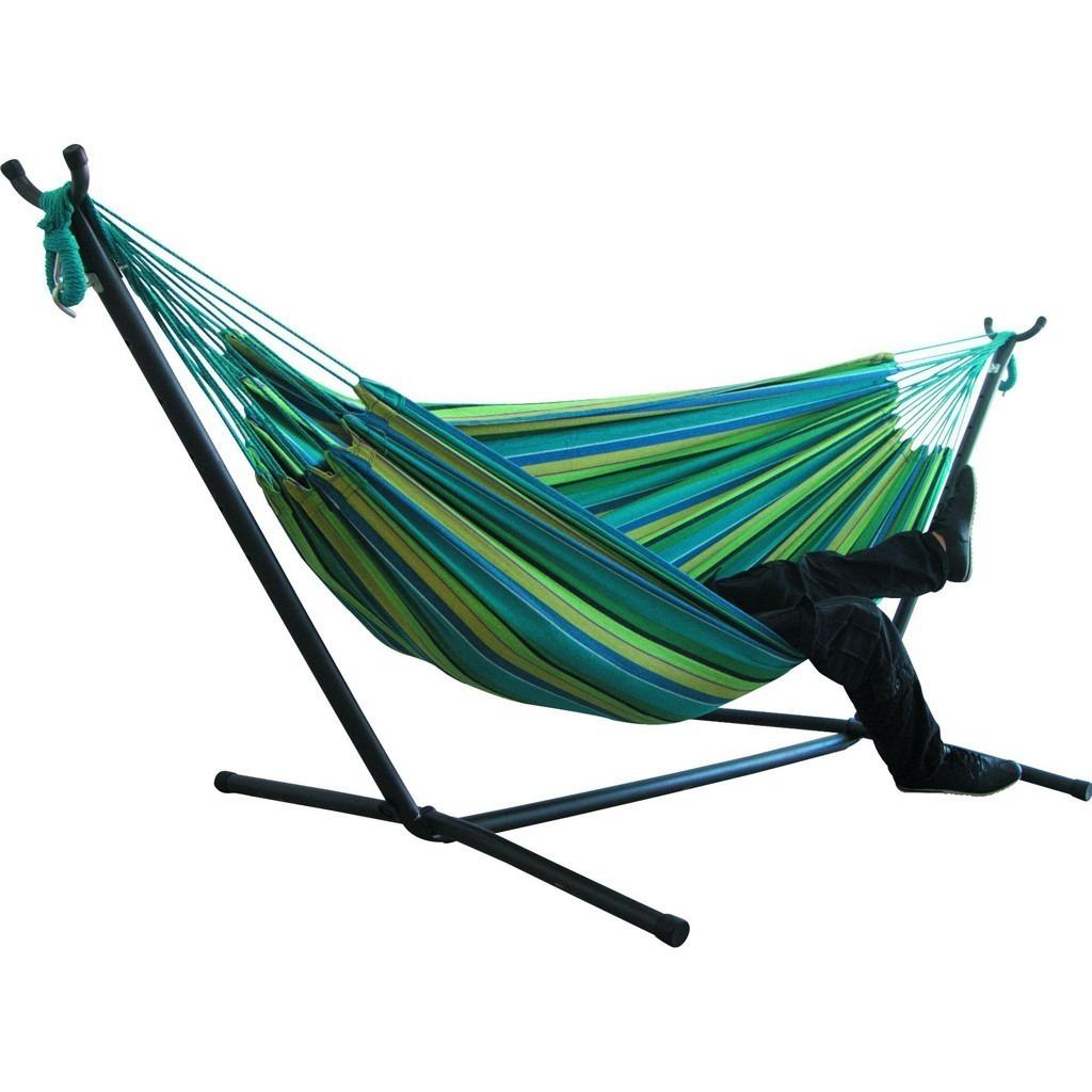 《おすすめ》快適 ハンモック 自立式 布製ハンモックセット スタンド付き 高さ調整可能 アウトドア 室内 キャンプ 紫グリーン_画像5
