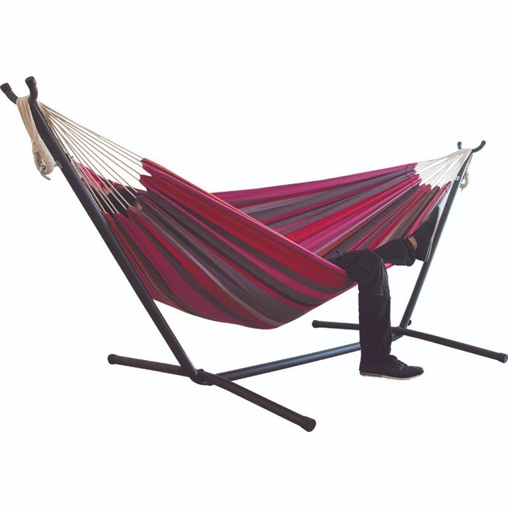 《おすすめ》快適 ハンモック 自立式 布製ハンモックセット スタンド付き 高さ調整可能 アウトドア 室内 キャンプ 紫グリーン_画像7
