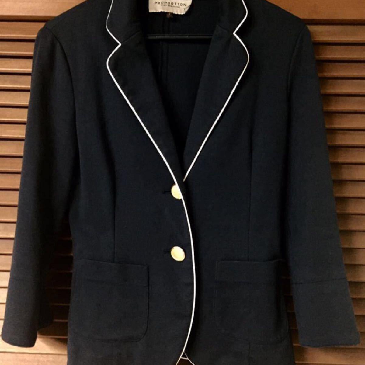 テーラードジャケット レディース紺ブレザー8部袖  (M)