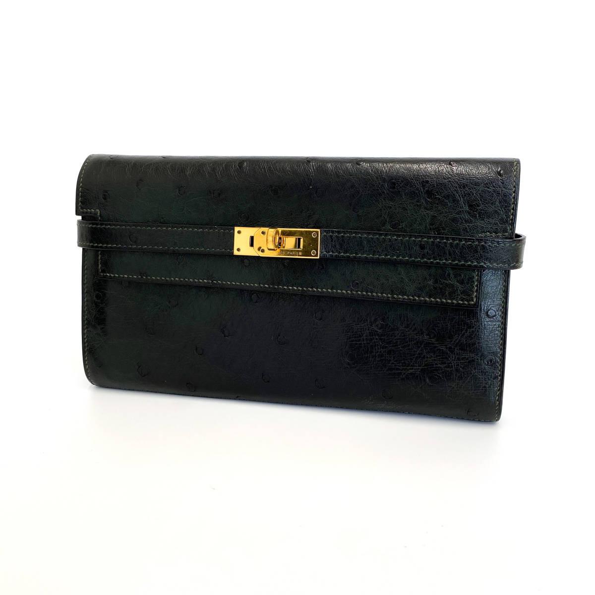 【117】 美品 エルメス オーストリッチ ケリーロングウォレット 長財布 グリーン系 A刻印 G金具