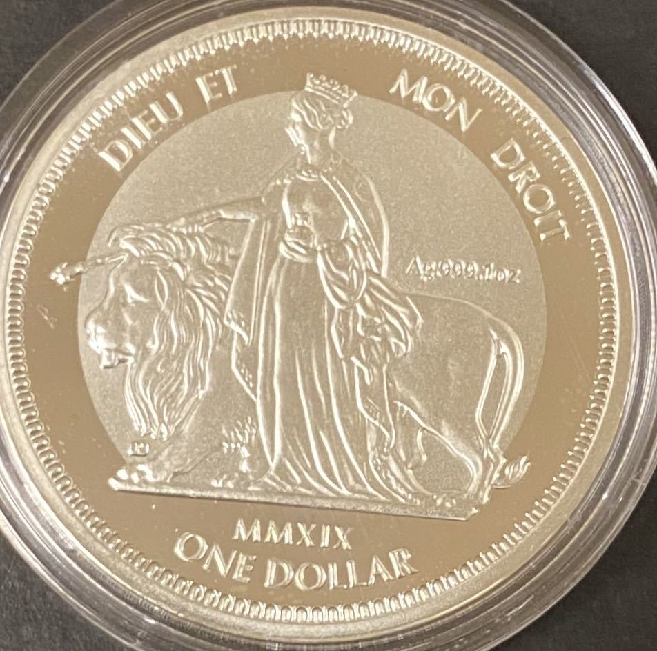 イギリス領バージン諸島2019銀貨 ウナとライオン リバースフロステッドプルーフ エリザベス2世
