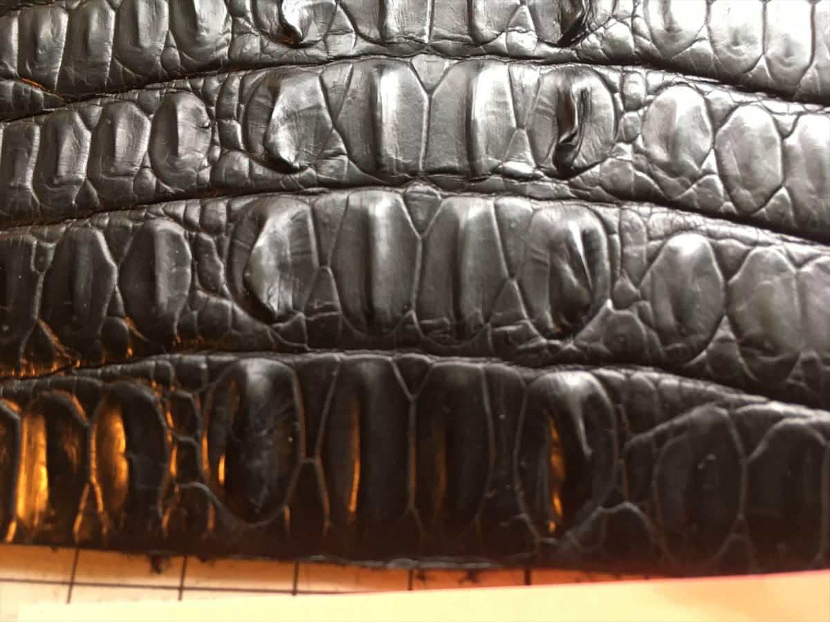 CRN-3小売り最安送料無料★極上クロコダイル ワニ革鰐 アリゲーター レザークラフト ブラック マット ハギレ※ 画像のものをお送りします_画像10