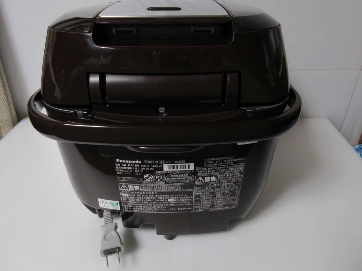 ★パナソニック おどり炊き SR-PA189-T [ブラウン] 1升 タイプ 展示未使用品1年保証 可変圧力IHジャー炊飯器CN_画像6