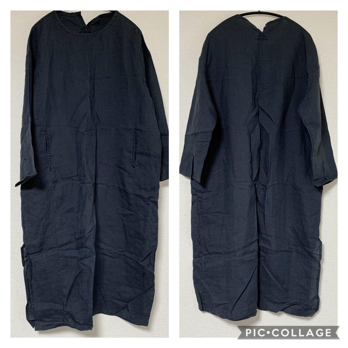 f2 新品 送料無料 レディース リネン100% 麻 長袖 ロングワンピース シンプル ゆったり 秋 冬 ネイビー ナチュラル 刺繍 紺 XL