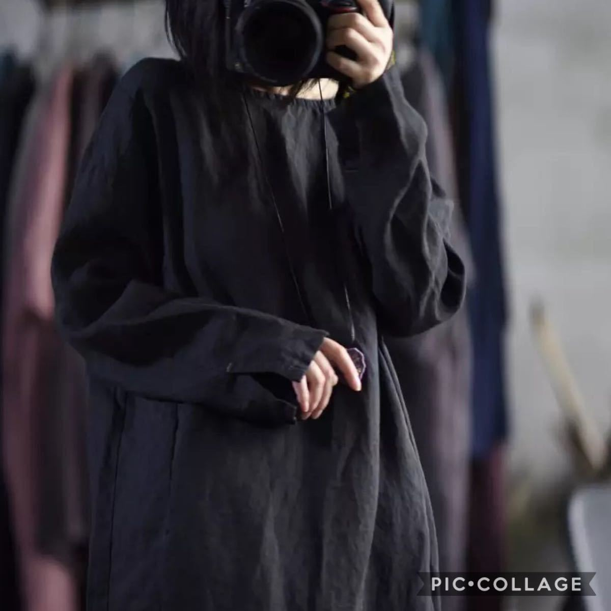f3 新品 送料無料 レディース リネン100% 麻 長袖 ロングワンピース シンプル ゆったり 秋 冬 ブラック 刺繍 ナチュラル 黒 L