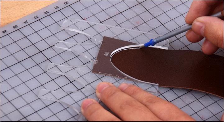 ベルトの位置決め定規 2個 アクリル型  型紙  レザークラフト