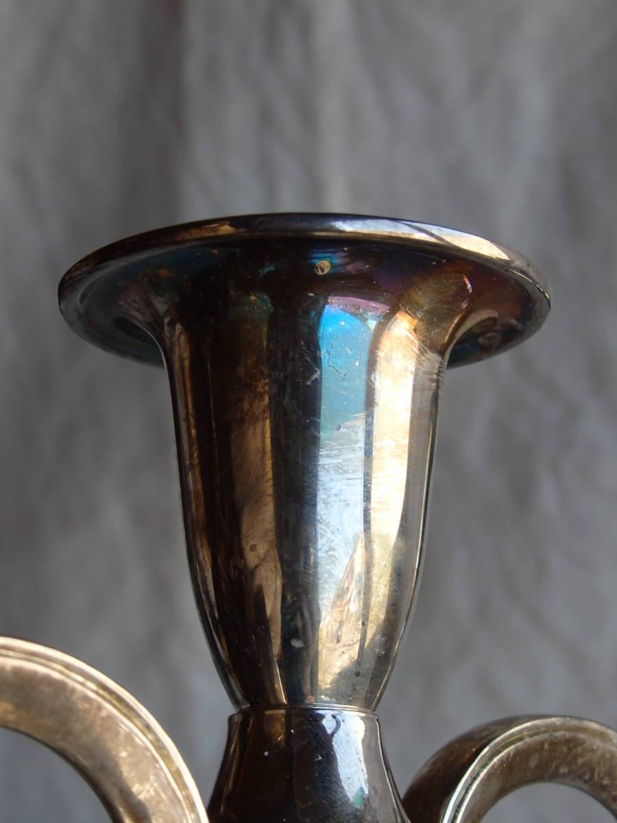 フランスアンティーク キャンドルスタンド 3灯 シルバープレート 銀メッキ 蝋燭立て 蚤の市 シャビー デコ インテリア_画像10