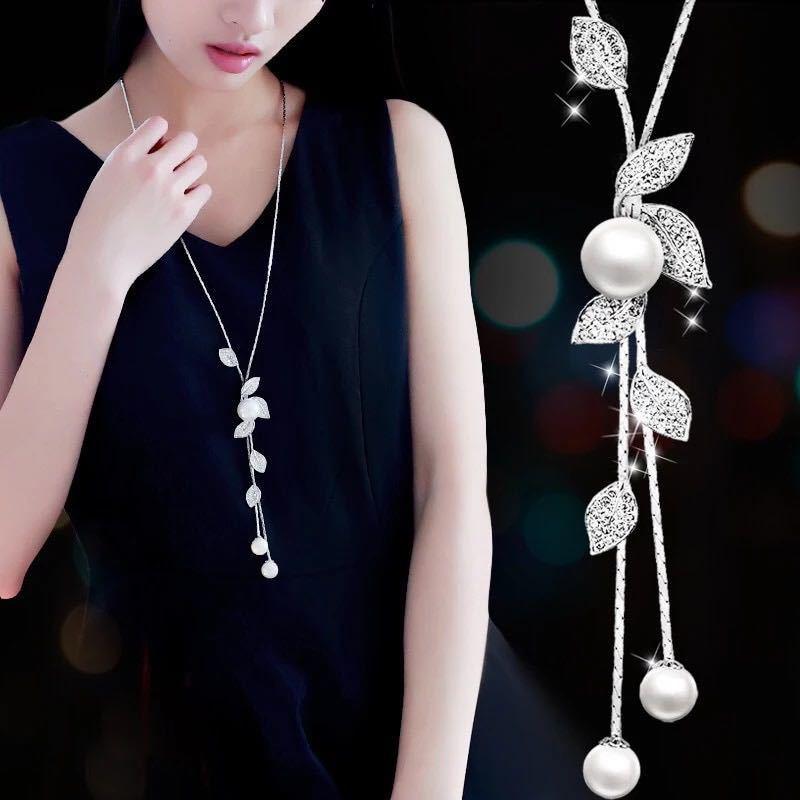 選べる ファッションエレガントな模擬パールチョーカーネックレス女性シルバーチェーンロングネックレスペンダントジュエリーアクセサリー_画像1