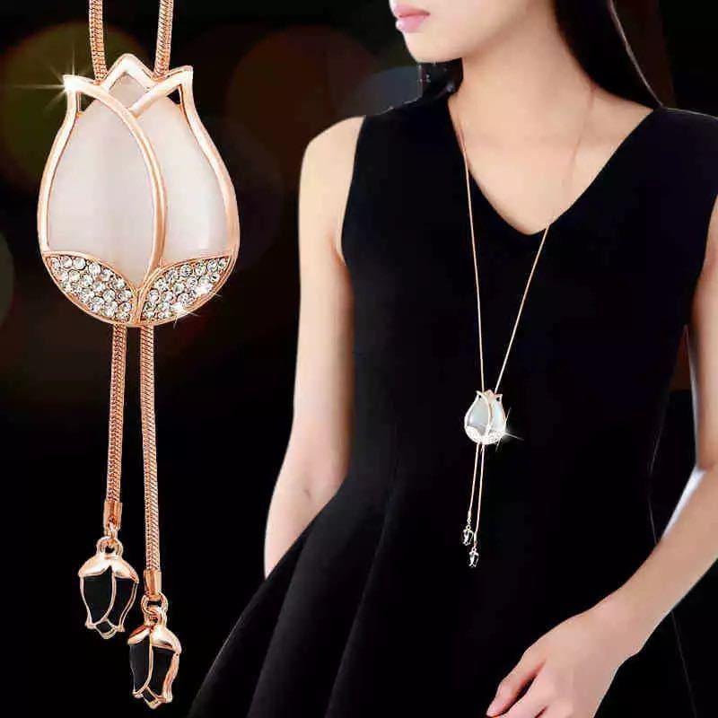 選べる ファッションエレガントな模擬パールチョーカーネックレス女性シルバーチェーンロングネックレスペンダントジュエリーアクセサリー_画像4