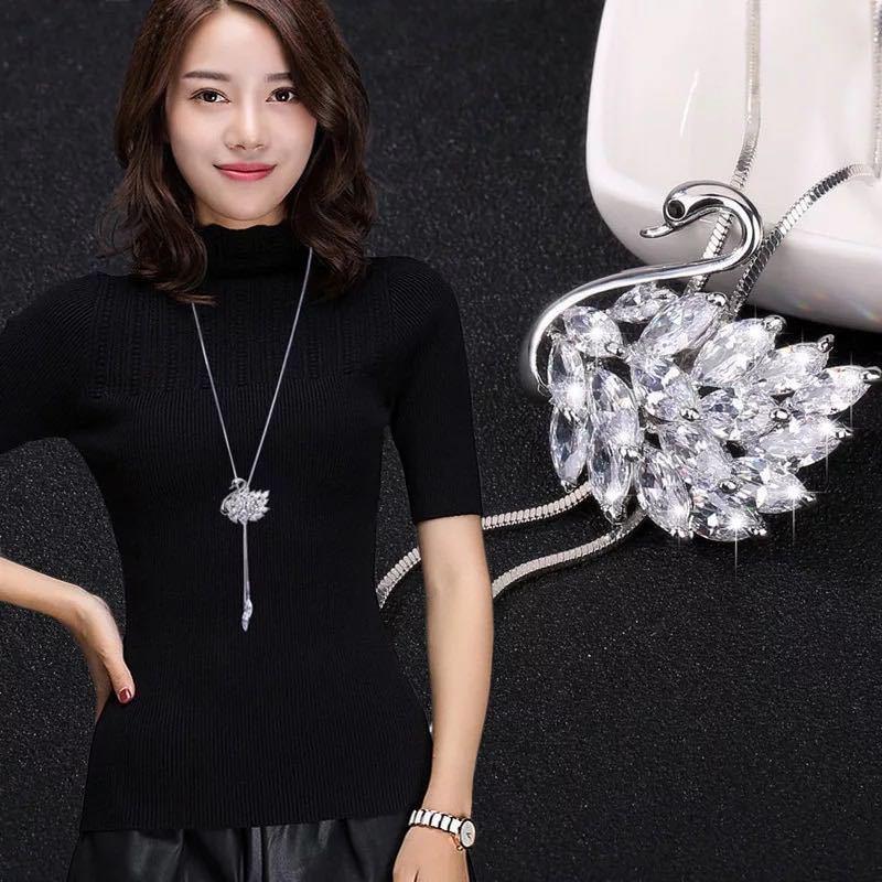 選べる ファッションエレガントな模擬パールチョーカーネックレス女性シルバーチェーンロングネックレスペンダントジュエリーアクセサリー_画像3