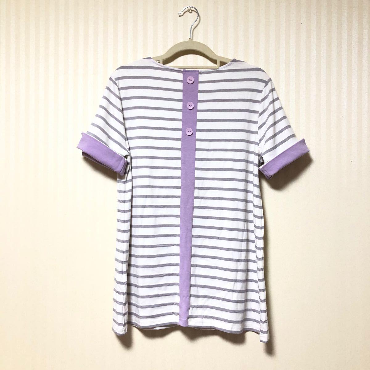 ボーダー チュニック 半袖 カットソー Tシャツ
