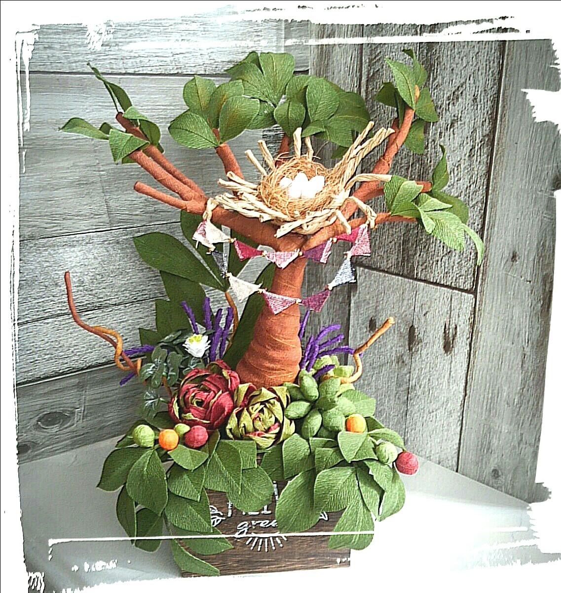 木箱いっぱいの森林浴 観葉植物 多肉植物 ペーパーフラワー 寄せ植え ギフト