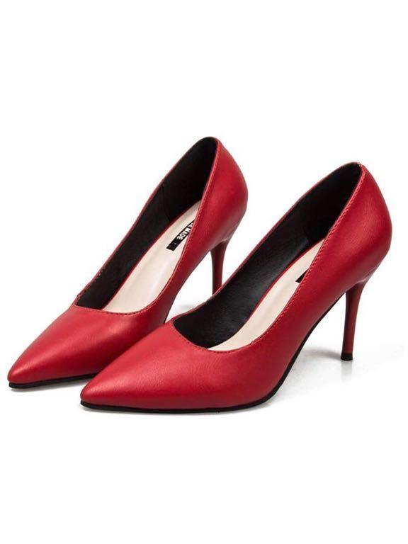 ポインテッドトゥパンプス レディース7cm ピンヒール ハイヒール シンプル 靴 大きいサイズ ハイヒール 通勤 美脚 靴 23.5cm