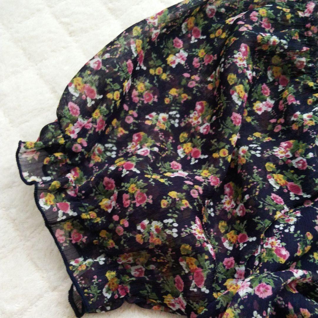 トップス  花柄 セール  半袖 ペプラム 38 アイアイエムケー ブラウス