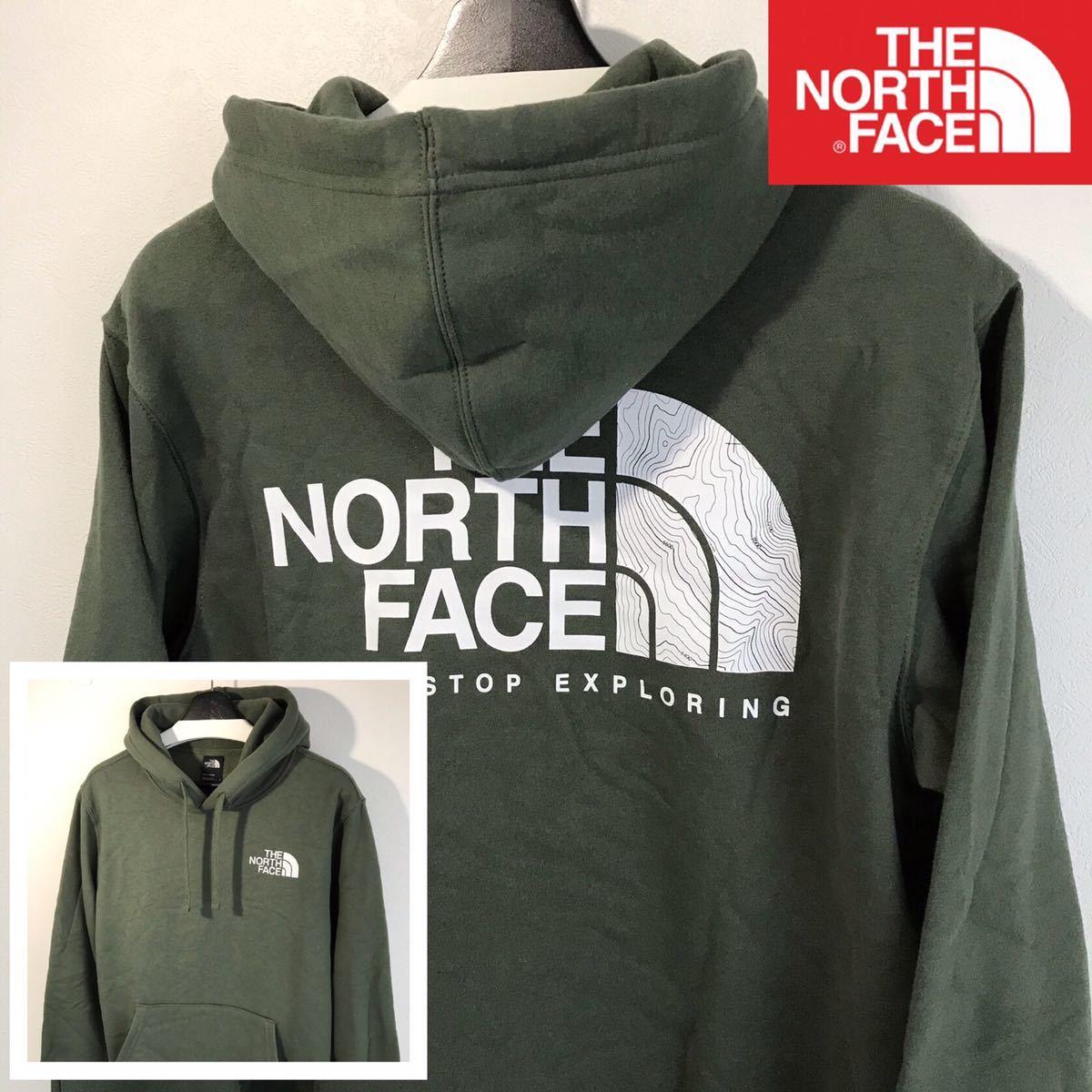 新品未使用 The North Face パーカー(メンズM)TNF オリーブ 【地図柄 等高線デザイン】『バック特大ハーフドームロゴ』フーディー