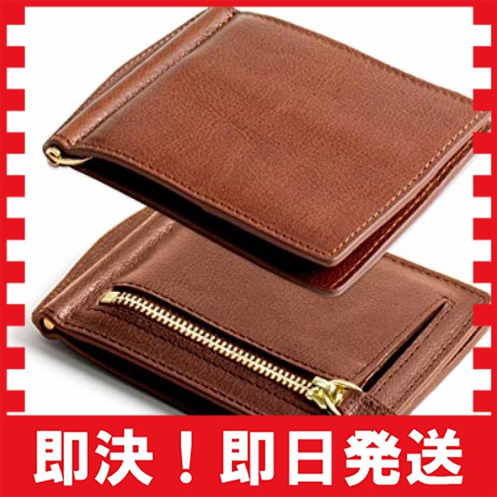 DomTeporna Italy マネークリップ メンズ 小銭入れ付き 本革 イタリアンレザー 薄型 二つ折り財布 カードケース_画像1