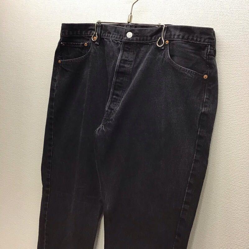 Levi's 501 W42 L32 定番ストレート ブラック ジーンズ デニムパンツ ビッグサイズ 大きいサイズ ブランド古着 リーバイス501 送料無料J097