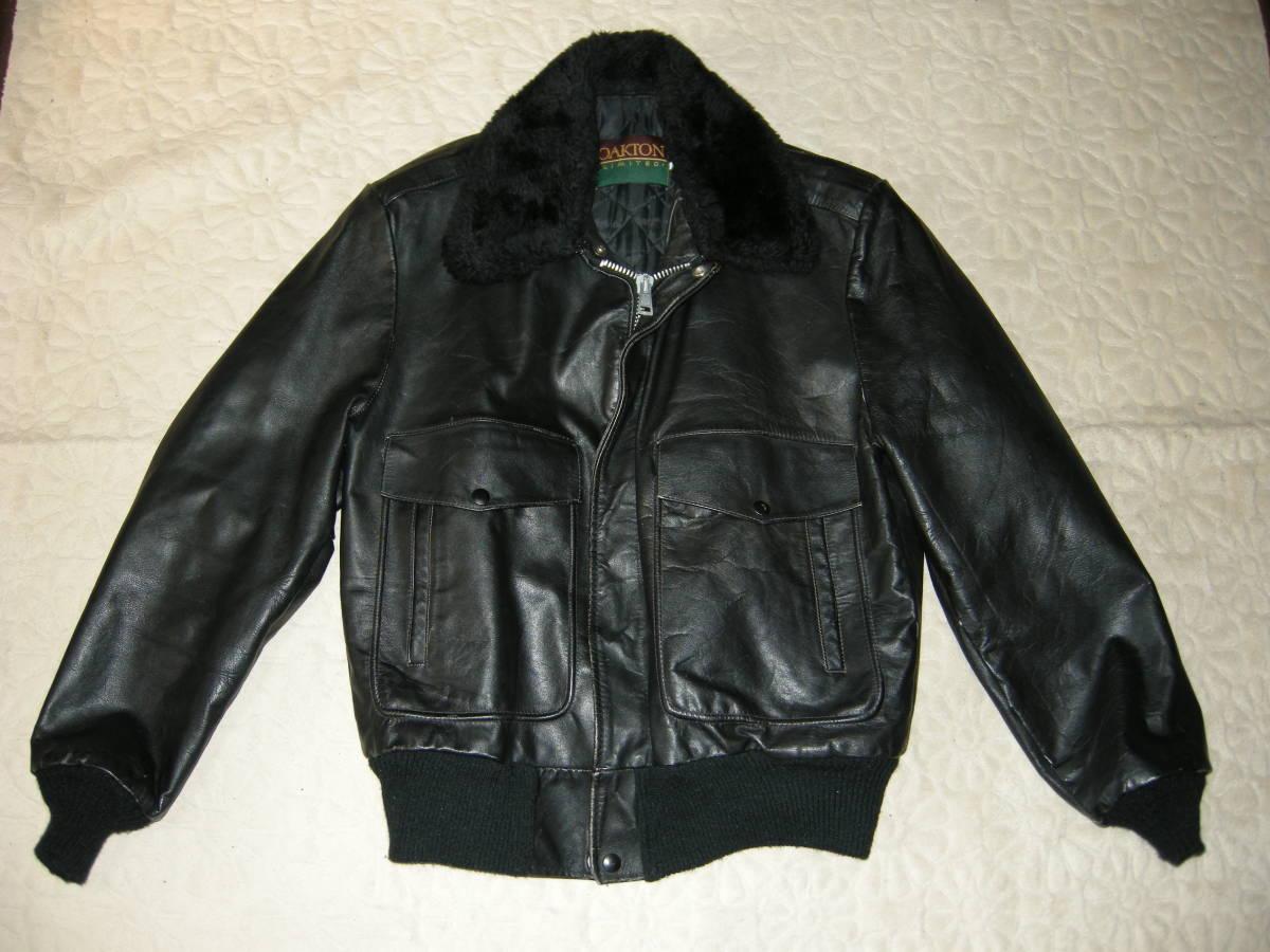 G-1タイプ リアルレザージャケットUSA製☆サイズ40ブラック 厚革
