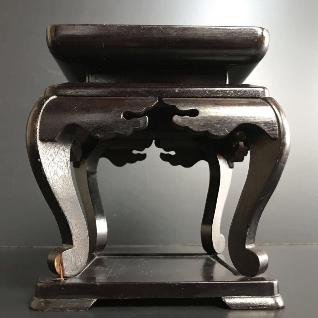 [X865] 木製 高卓 高さ約18cm 花台 飾台 盆栽台 香炉台 四方卓 華道具 茶道具 床飾_画像4