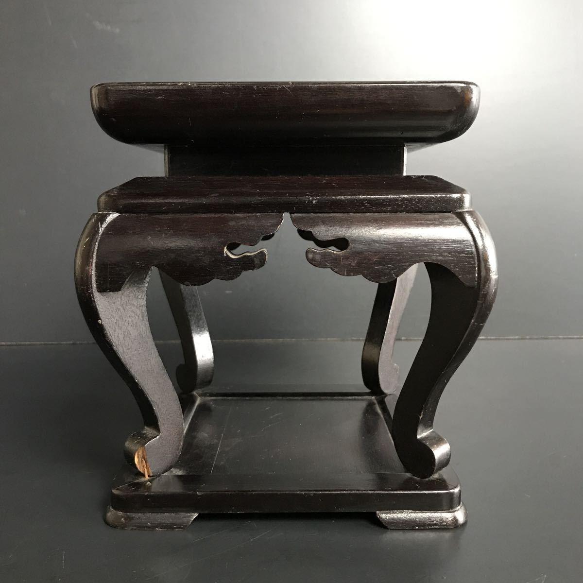 [X865] 木製 高卓 高さ約18cm 花台 飾台 盆栽台 香炉台 四方卓 華道具 茶道具 床飾_画像3