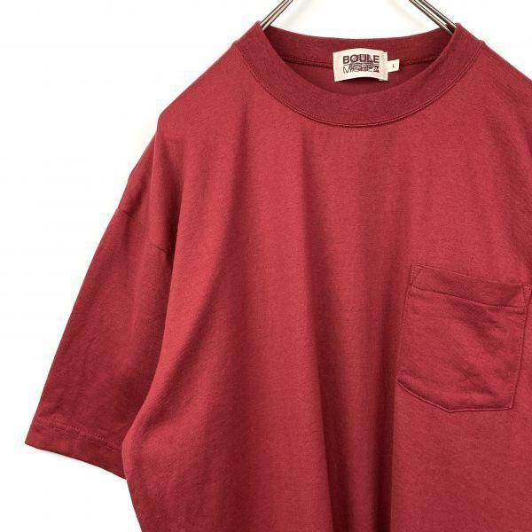 BOULE MICHE ポケット Tシャツ ワインレッド Lサイズ 日本製 ジャパンオールド_画像1