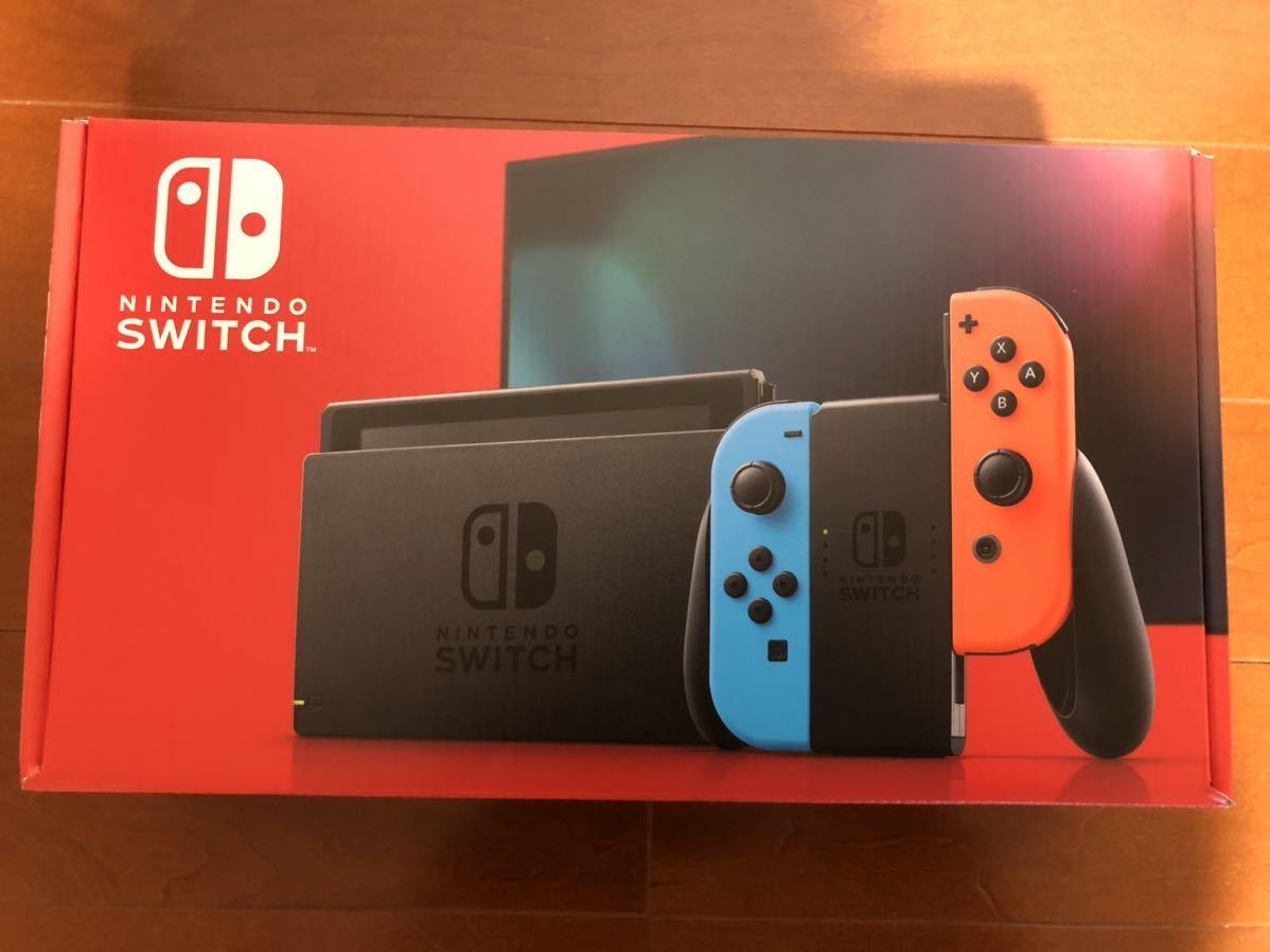 ☆送料無料 即決 Nintendo Switch Joy-con L/ネオンブルー R/ネオンレッド 新モデル 保証付 21 4月購入 任天堂 ニンテンドースイッチ 本体_画像1