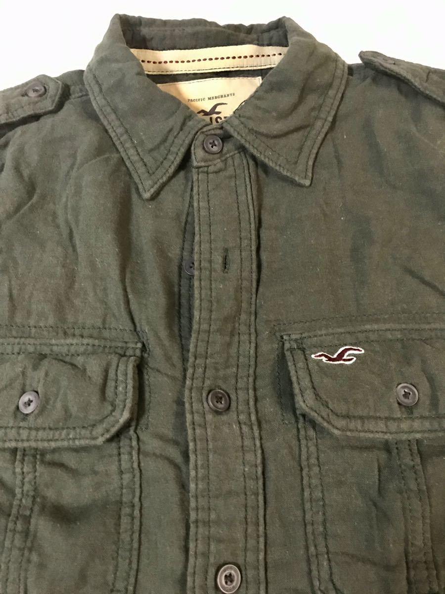 正規店購入 HOLLISTER ホリスター半袖シャツ アーミーグリーンー系 Sサイズ_画像2