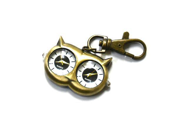 送料無料 ダブル時計 海外旅行に 猫 ネコ 懐中 時計 可愛いアンティーク  キャット チャーム時計_画像1