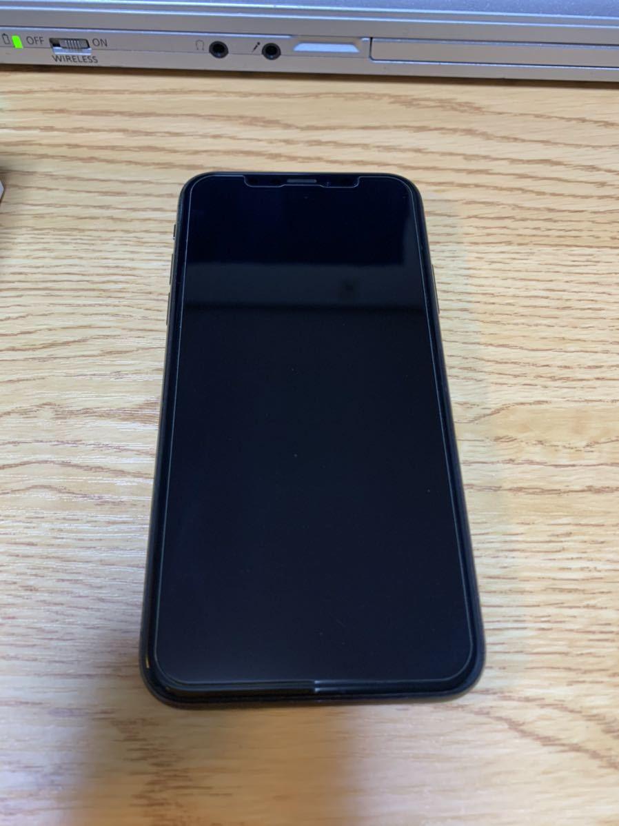 【送料無料・SIMロック解除済み】SoftBank iPhone X 256GB スペースグレイ 利用制限〇 【おまけ付き】_ガラスフィルムを貼ったままです