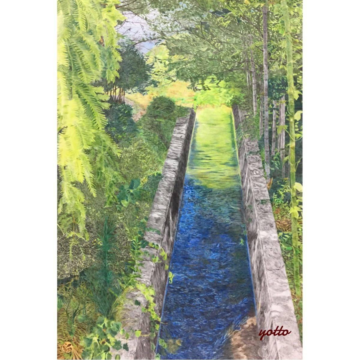 色鉛筆画「 響 」A2・額付き◇◆手描き◇原画◆風景画◇◆yotto_画像1