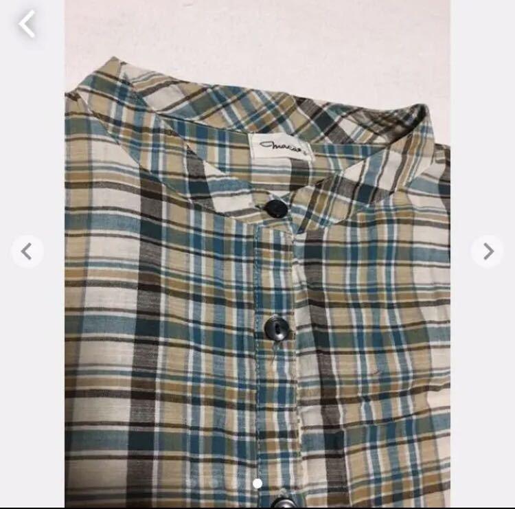 チェックシャツ チュニック ノーカラーシャツ 秋 冬チェック柄