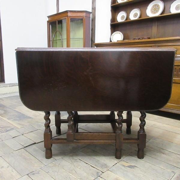 イギリス アンティーク 家具 ダイニングテーブル バタフライ ゲートレッグテーブル ツイストレッグ 木製 オーク 英国 TABLE 6486b_画像7