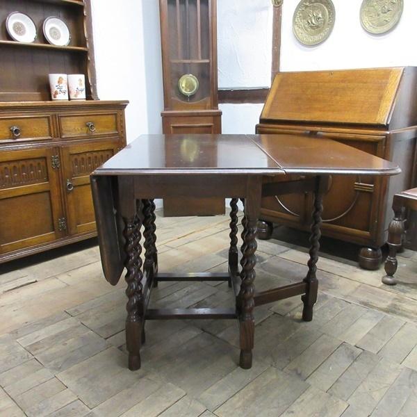 イギリス アンティーク 家具 ダイニングテーブル バタフライ ゲートレッグテーブル ツイストレッグ 木製 オーク 英国 TABLE 6486b_画像5