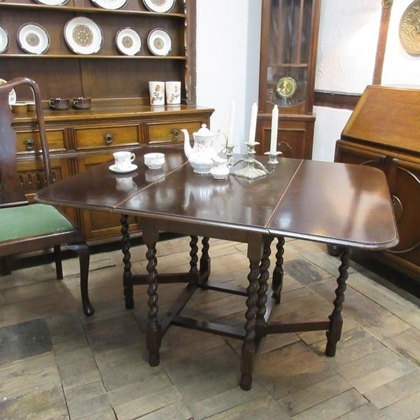イギリス アンティーク 家具 ダイニングテーブル バタフライ ゲートレッグテーブル ツイストレッグ 木製 オーク 英国 TABLE 6486b_画像1