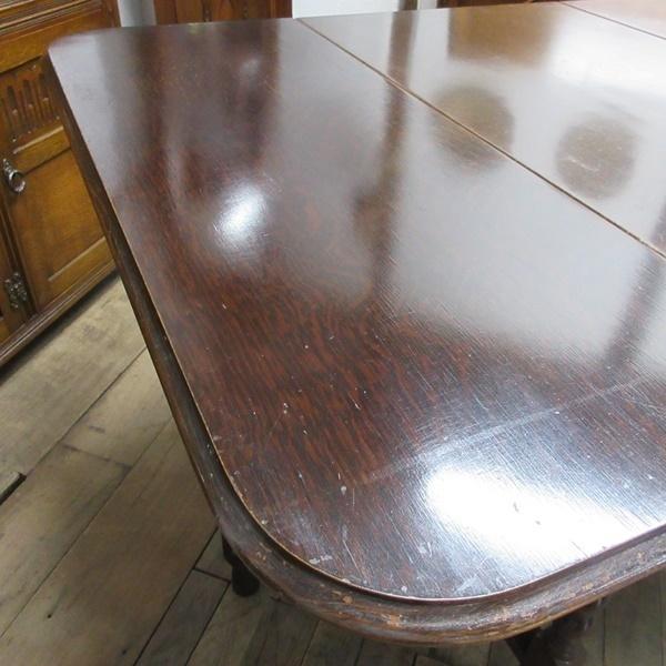 イギリス アンティーク 家具 ダイニングテーブル バタフライ ゲートレッグテーブル ツイストレッグ 木製 オーク 英国 TABLE 6486b_画像8